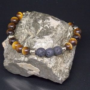Tiger Eye Lava Rock Diffuser Bracelet